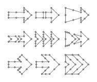 Arrows in the form of lines, dots connected Royalty Free Stock Image