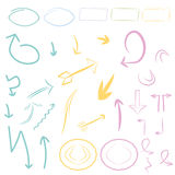Arrows,frames set / collection, icons,tags,symbols. Vector  hand drawn Arrows,frames set / collection, icons,tags,symbols Vector can be useful like a logo,emblem Royalty Free Stock Photos