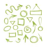 Arrows and frames, sketch for your design Royalty Free Stock Photo
