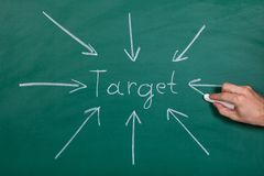 Arrows Gathering Over Target Royalty Free Stock Image