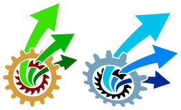 Arrows with gears. Isolated line art logo design Stock Photography