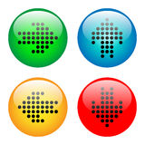 Arrows glass button icon set. Arrows on bright glass button icon set in vector Stock Photo