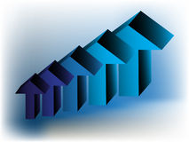 Arrows going up. A set of blue arrows showing an increase Stock Photography
