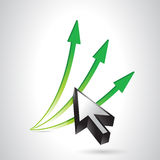 Arrows going up and cursor. illustration design Royalty Free Stock Photography