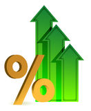 Arrows going up and percentage symbol Royalty Free Stock Image