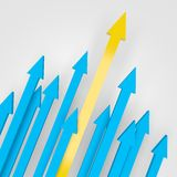 Arrows Going Upward. 3d render illustration of arrows going up, with yellow one as the highest Royalty Free Stock Images