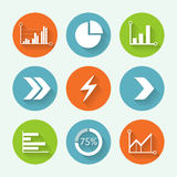 Arrows and graph colorful icon set, flat design. Vector illustration. Stock Photography