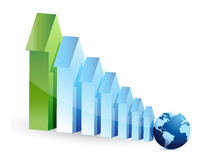 Arrows graph and globe Stock Images