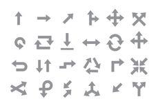 Arrows gray vector icons set Stock Photo