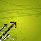 Arrows on green background. Illustration of black arrows on a green and white splattered grunge background Stock Images