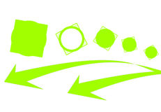 Arrows and green circles in squares. Green circles in squares. Green arrows Stock Image