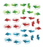 Arrows in the green, red and blue color Stock Image