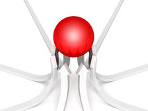 Arrows grow pointing to red sphere top leader. Business success concept 3d render illustration Royalty Free Stock Image