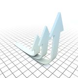 Arrows of Growth. A 3D illustration of arrows pointed on upwards on a time grid, depicting growth Stock Image