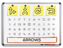 Arrows hand drawing line icons. Royalty Free Stock Image