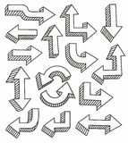 Arrows, hand-drawn, fine lines, monochrome, black. On a white background arrow is drawn, thin black lines. For websites and printing Stock Photo