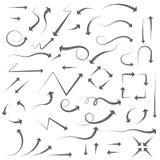 Arrows. Hand written filigree set. Vector illustration isolated on white background stock illustration