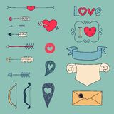 Arrows, hearts and other design elements Royalty Free Stock Photos