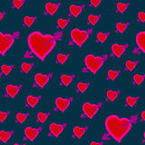 Arrows in Hearts seamless background. Valentine Day Wounded Heart. Arrows in Hearts seamless background Stock Photography