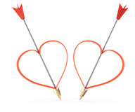 Arrows and heartshapes Stock Images