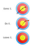 Arrows hit and missed target. Arrows hit archery target and missed, leave one of it Stock Photos
