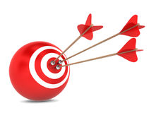 Arrows hit spherical aim. 3d illustration on white background Royalty Free Stock Image