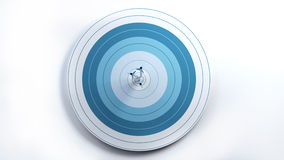 3 Arrows hit target in center, front view. Stock Photo