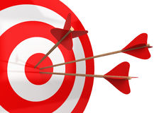 Arrows hit the target. 3d illustration isolated on white background Stock Photos