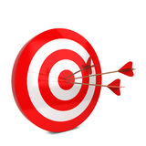 Arrows hit the target. 3d illustration  on white background Royalty Free Stock Image