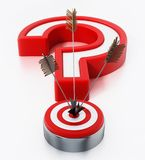Arrows hit on target forming a question mark. 3D illustration.  Royalty Free Stock Photo