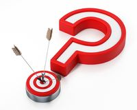 Arrows hit on target forming a question mark. 3D illustration.  Royalty Free Stock Images