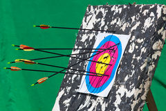 Arrows hitting an archery target. The sport target with three arrows, closeup royalty free stock images
