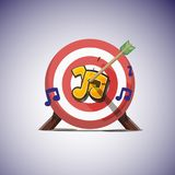 Arrows hitting the center of music note icon. great lyric and music concept - vector illustration. Arrows hitting the center of music note icon. great lyric and Stock Images