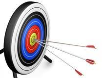 Arrows hitting target. 3D render of arrows hitting a target Stock Image