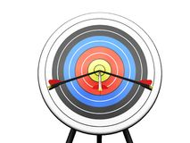 Arrows hitting target. 3D render of arrows hitting a target Royalty Free Stock Photo