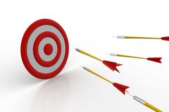Arrows hitting on the target board Stock Photos