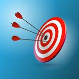 Arrows hitting a target. One target and three arrows. Business goal concept.. Arrows hitting a target. One target and three arrows. Business goal concept Stock Photography