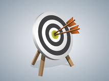 Arrows Hitting A Target. Two Arrows Hitting The Center of the Target, Vector illustration Royalty Free Stock Images