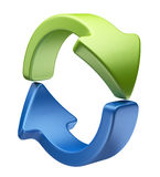 Arrows icon 3D. Recycle symbol isolated Stock Images