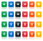 Arrows icon set. Illustration of a set of coloured arrows icons, vertical and horizontal Stock Photos