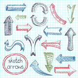 Arrows icon set sketch Royalty Free Stock Photo