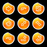 Arrows icons, orange sticker Stock Photos