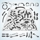 Arrows icons set in isometric 3d style. Black pointers set collection  illustration Stock Image