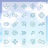 25 Arrows icons set. 25 outline Arrows icons set, blue on clouds background Stock Image