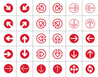 Arrows red round icons set. Set of red vector arrows for designers. simple round design Royalty Free Stock Image