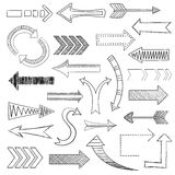 Arrows icons set sketch Royalty Free Stock Image