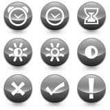 Set of 9 Alarm Bright Contrast vector illustrator icons Royalty Free Stock Photos