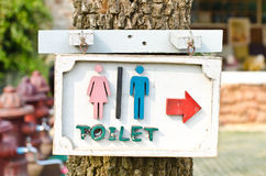 Arrows indicate the toilet. Stock Image