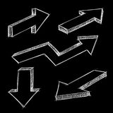 Arrows. Isometric hand drawn sketch on black background. Vector illustration Stock Photography