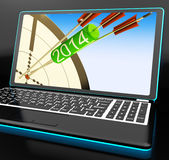 2014 Arrows On Laptop Showing Festivities. And Celebrations Stock Photography